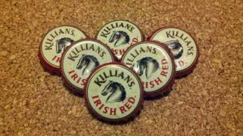 George Killian's 6 Pack of Recycled Beer Bottle Cap Magnets Vintage