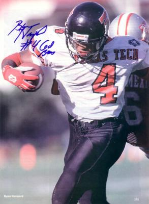 Byron Hanspard autographed Texas Tech magazine photo