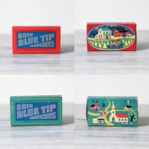 Antique 1955 match boxes designed with a sweet primitive