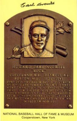 Earl Averill autographed Hall of Fame plaque postcard