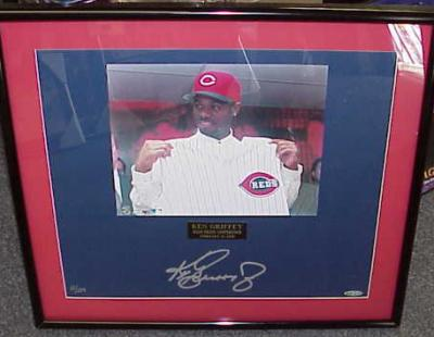 Ken Griffey Jr. autographed Cincinnati Reds photo matted &amp; framed ltd. edit. 124 (UDA)