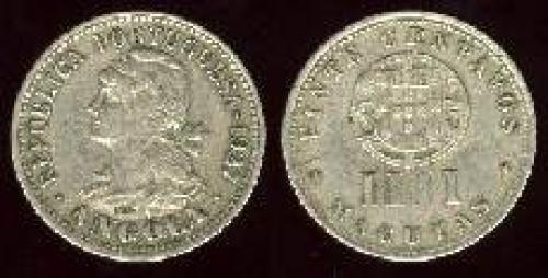 20 centavos; Year: 1927-1928; (km 68); = 4 macutas