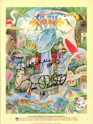 Jim Plunkett &amp; Mike Haynes (Raiders) autographed Super Bowl 18 program