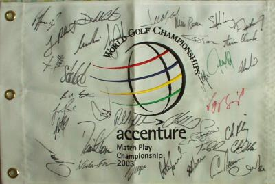 2003 World Golf Championships autographed flag Tiger Woods Darren Clarke Phil Mickelson Adam Scott