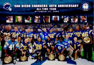 Junior Seau & Hank Bauer autographed San Diego Chargers 40th Anniversary Team card