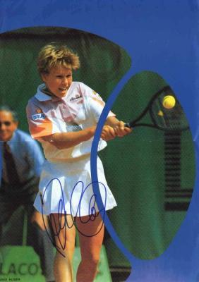 Anke Huber autographed tennis magazine mini poster