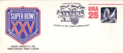 Super Bowl 25 commemorative cachet (Giants 20 Bills 19)