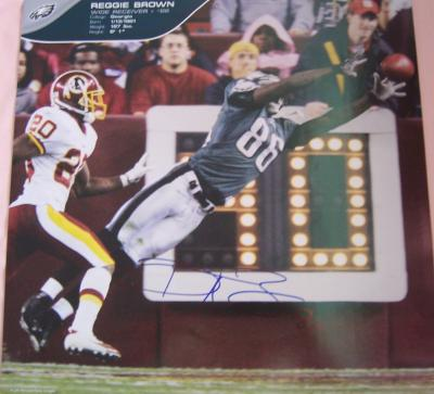 Reggie Brown autographed Philadelphia Eagles calendar page