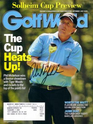 Phil Mickelson autographed 2007 Golf World magazine