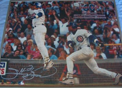 Sammy Sosa autographed Chicago Cubs 16x20 poster size 60/60 photo framed
