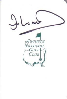 Ian Woosnam autographed Augusta National Masters scorecard