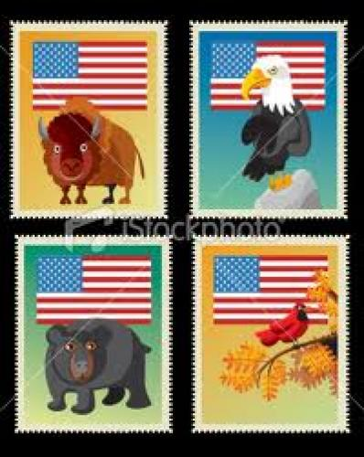 Stamps; USA stamps Royalty Free Stock Vector Art Illustration