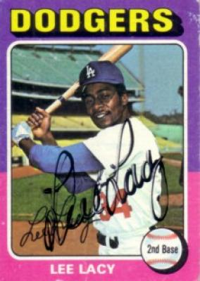 Lee Lacy autographed Los Angeles Dodgers 1975 Topps mini card