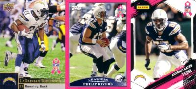 2009 San Diego Chargers Breast Cancer set (Antonio Gates Philip Rivers LaDainian Tomlinson)