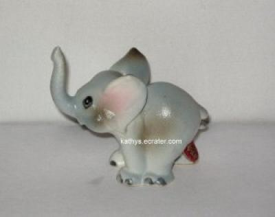 Bone China Japan Elephant Calf Baby Gray Animal Figurine