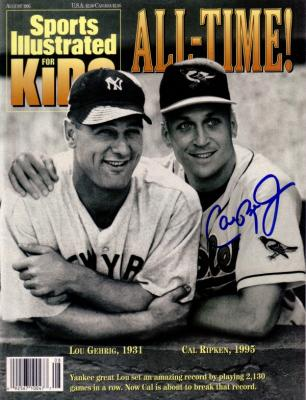 Cal Ripken autographed Baltimore Orioles 1995 Sports Illustrated for Kids (with Lou Gehrig)