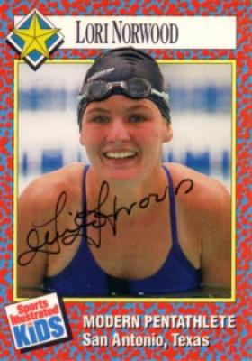 Lori Norwood (modern pentathlon) autographed 1991 Sports Illustrated for Kids card