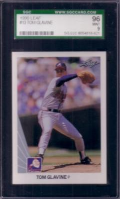 Tom Glavine 1990 Leaf card #13 graded SGC 96 MINT (PSA 9)