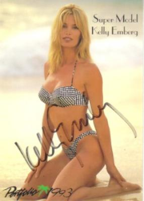 Kelly Emberg autographed 1993 Portfolio swimsuit card