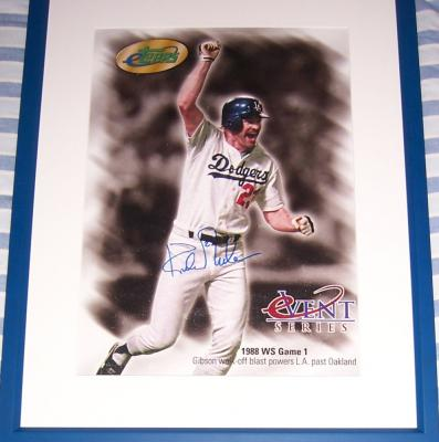 Kirk Gibson autographed Los Angeles Dodgers 1988 World Series Home Run canvas photo framed