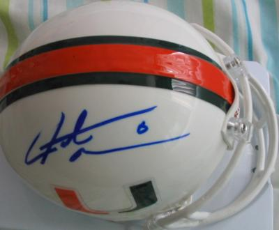 Santana Moss autographed Miami Hurricanes mini helmet