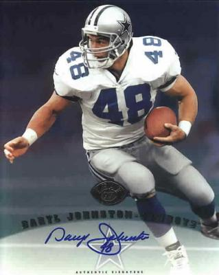 Daryl (Moose) Johnston certified autograph Dallas Cowboys 1997 Leaf 8x10 photo card