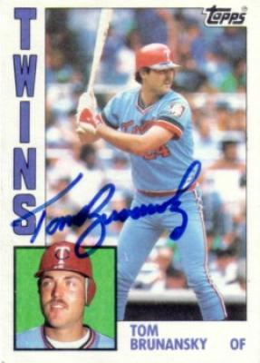 Tom Brunansky autographed Minnesota Twins 1984 Topps card