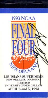 John Thompson (Georgetown) autographed 1993 NCAA Basketball Final Four ticket booklet