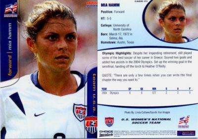Mia Hamm 2004 U.S. Women&#039;s National Team soccer card #21