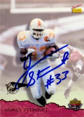 James Stewart autographed 1995 Tennessee Volunteers card
