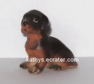 Porcelain Miniature Sitting Dachshund Dog Animal Figurine