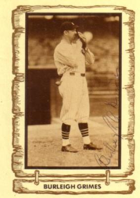 Burleigh Grimes autographed Brooklyn Dodgers Baseball Legends card