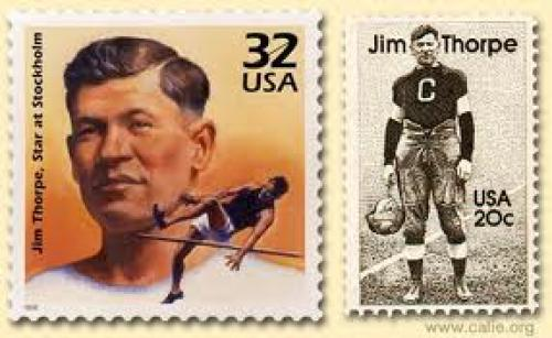 Stamps; Jim Thorpe USA postage stamp: JIM THORPE POSTAGE STAMP; 32 cents