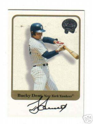 Bucky Dent certified autograph Yankees 2001 Fleer Greats of the Game card