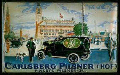 Carlsberg Pilsner Truck Vintage Beer Metal Tin Pub Sign