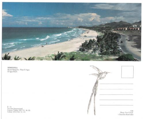PANORAMIC POSTCARD BEACH WATER VENEZUELA