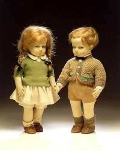 Dolls; Boy and girl dolls, Lenci, Italy, about 1927