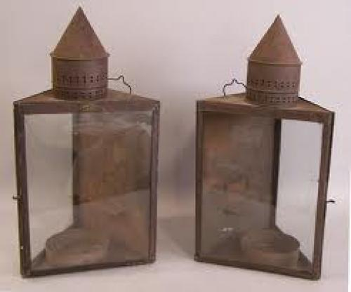 Antique Pair Of Hiram Piper Co Montreal Tin Light Fixtures