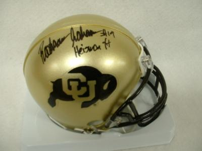 Rashaan Salaam autographed Colorado mini helmet inscribed Heisman 94