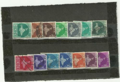 map of india stamps (14 in 1 set) all used stamps