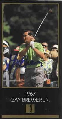 Gay Brewer autographed 1967 Masters Champion golf card