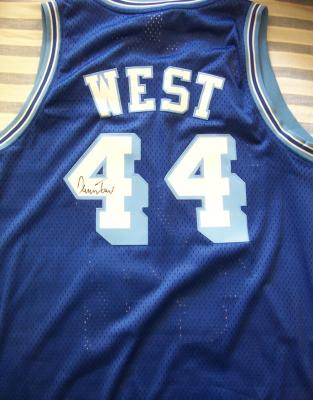 Jerry West autographed Los Angeles Lakers Adidas throwback jersey