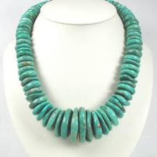 Jewelry; Santo Domingo Turquoise Disc Necklace.