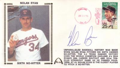 Nolan Ryan autographed Texas Rangers 6th No-Hitter cachet envelope