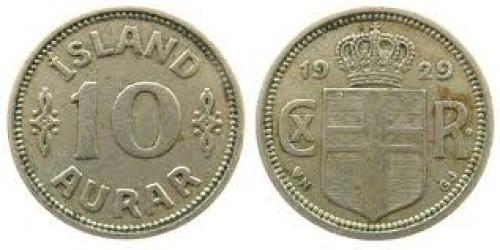 Coins;  Iceland KN Christian X, Siegs 10 10 Aurar 1929 ss
