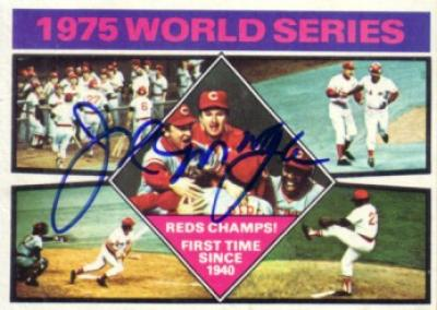 Joe Morgan autographed Cincinnati Reds 1975 World Series Champs Topps card
