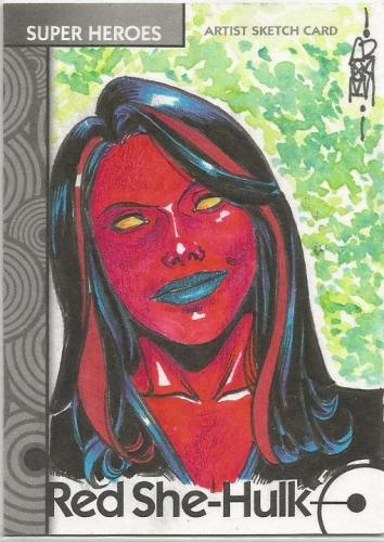 2013 Marvel Fleer Retro Sketch 01 Red She Hulk