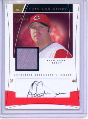 Adam Dunn certified autograph Cincinnati Reds game jersey card #95/100