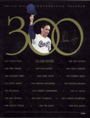 Nolan Ryan autographed Texas Rangers 300th Win commemorative program