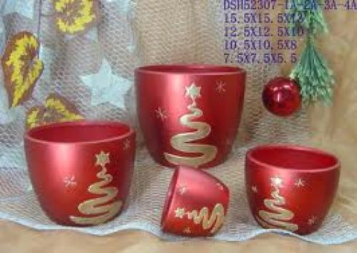 Decorative; Christmas Porcelain and Ceramics Vases/Flower Pots Cover